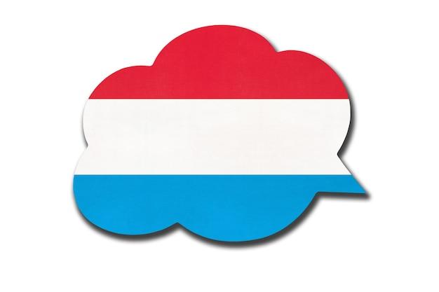 Bolha do discurso com a bandeira nacional do luxemburgo. aprender a língua luxemburguesa. símbolo do país.