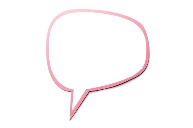 Bolha do discurso como uma nuvem com borda rosa isolada. copie o espaço