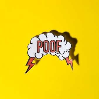 Bolha do discurso em quadrinhos com expressão texto poof em fundo amarelo