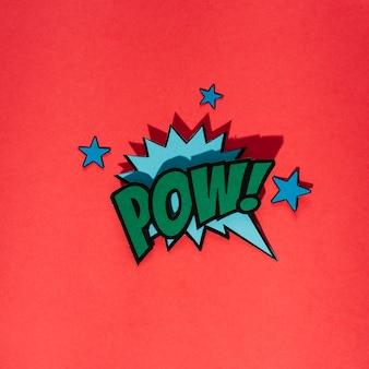 Bolha do discurso em quadrinhos retrô elegante com texto pow com elementos de estrelas no fundo vermelho