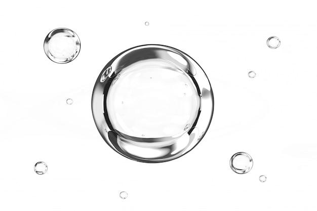 Bolhas de água no fundo branco 3d render