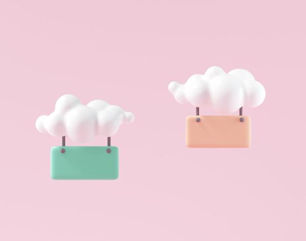 Bolhas de bate-papo suspensas mínimas 3d por nuvem, comentário, sinal de suspensão para substituição de texto. renderização 3d
