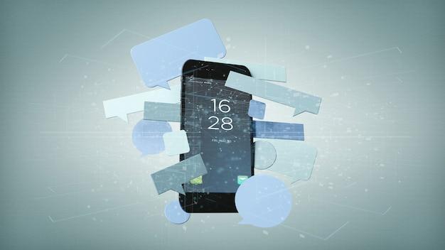 Bolhas de mensagens em torno de uma renderização 3d de smartphone