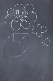 Bolhas de nuvem contendo uma mensagem e uma caixa desenhada em um quadro-negro