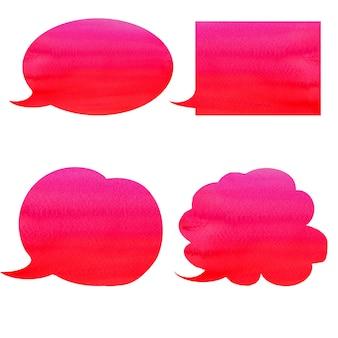 Bolhas do discurso aquarela vermelho e rosa gradiente com traçado de recorte na parede branca