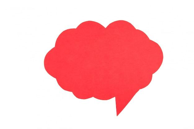 Bolhas do discurso de papel vermelho isoladas no fundo branco