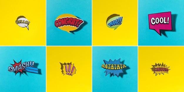 Bolhas do discurso em quadrinhos com emoções diferentes e texto em fundo amarelo e azul
