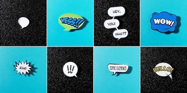 Bolhas do discurso em quadrinhos com emoções diferentes e texto em fundo azul e preto
