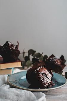 Bolinho de chocolate de close-up