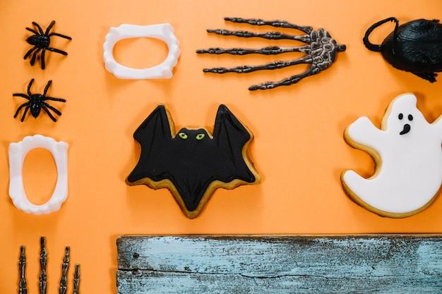 Bolinhos assustadores de morcego e fantasma
