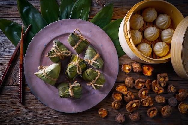 Bolinhos de arroz zongzi bolinhos de porco shiitake