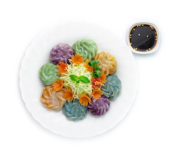 Bolinhos de cebolinha chinesa de cor mista ou cebolinha de alho bolo de arroz dim sum