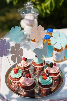 Bolinhos de chocolate apetitosos decorados com creme, morangos e groselhas