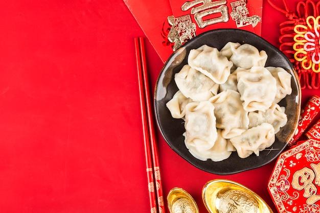 Bolinhos de massa para chinês festival da primavera chinês grande sorte bênção