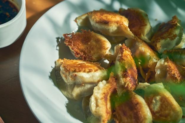 Bolinhos fritos chineses clássicos com carne e molho de soja picante em um prato branco. cozinha chinesa
