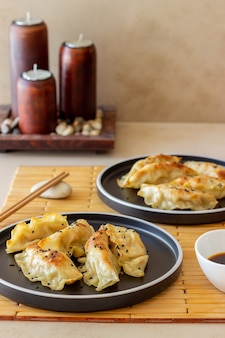 Bolinhos fritos com molho de soja. gyoza. alimentação saudável. comida vegetariana.