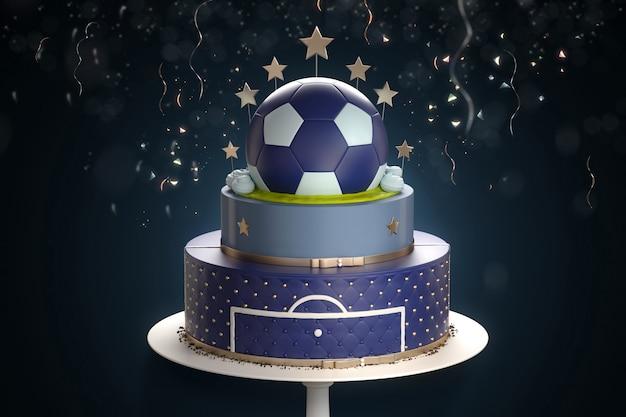 Bolo azul com a decoração da bola de futebol de cima e confetes em fundo