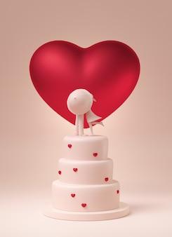 Bolo com coração vermelho e beijos casal por cima