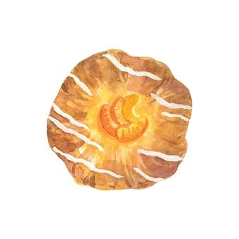 Bolo com tangerinas e cobertura. mão-extraídas ilustração em aquarela. isolado na parede branca.