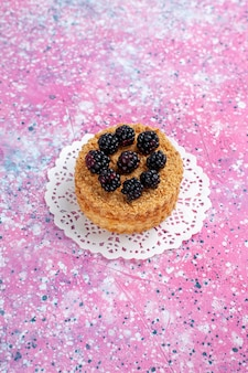 Bolo de amora-preta de vista frontal pequeno bolo de frutas no fundo rosa claro.