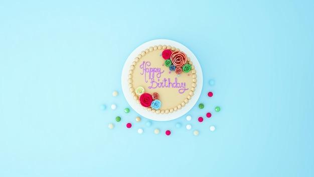 Bolo de aniversário para obras de arte - renderização em 3d