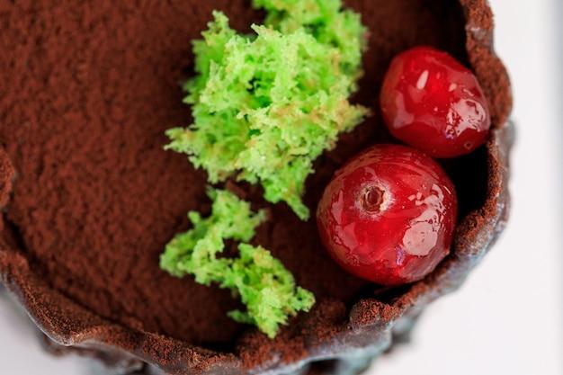 Bolo de cacau polvilhado com folhas verdes e cranberry.
