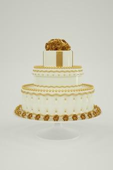 Bolo de casamento branco mínimo com decoração dourada