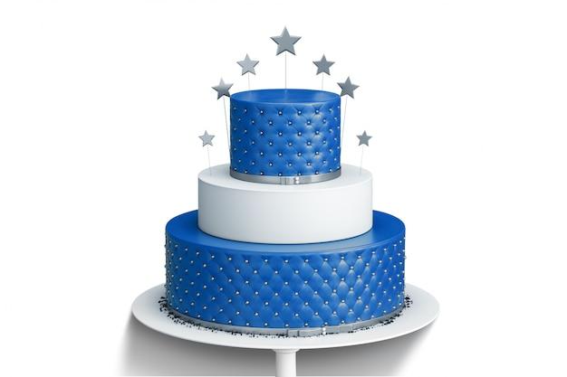 Bolo de casamento de três camadas azul