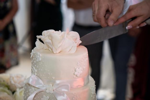 Bolo de casamento, mãos e faca, corte