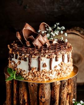 Bolo de chocolate com creme de nozes e propagação de chocolate