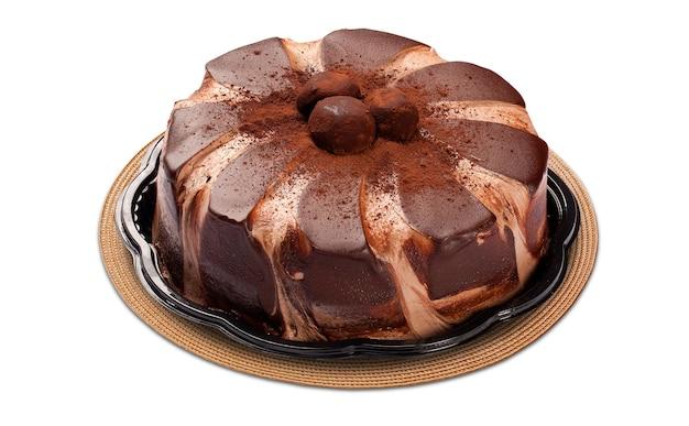 Bolo de chocolate com creme doce. espaço em branco.