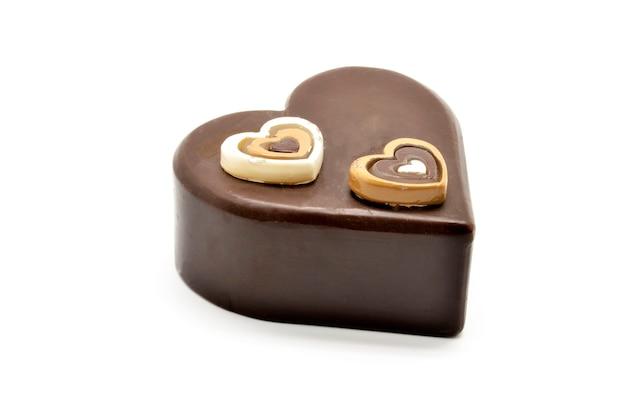 Bolo de chocolate com formato de coração