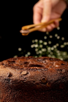 Bolo de chocolate marrom tradicional