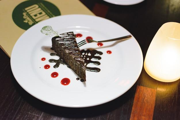 Bolo de chocolate para a sobremesa depois do jantar