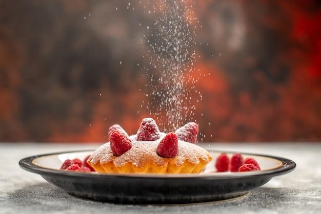 Bolo de frutas vermelhas em uma placa oval em um local escuro de cópia de superfície