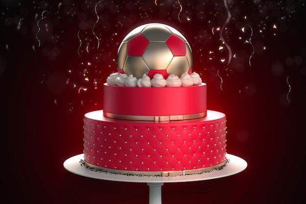 Bolo de futebol vermelho com confete no fundo