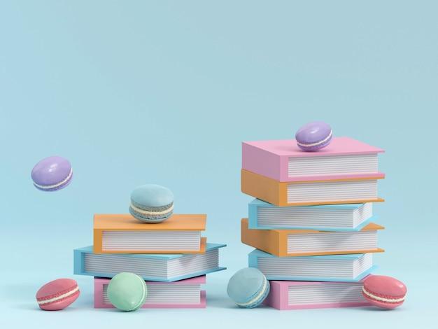 Bolo de macaron ou macaroon em fundo turquesa de cima renderização 3d colorida