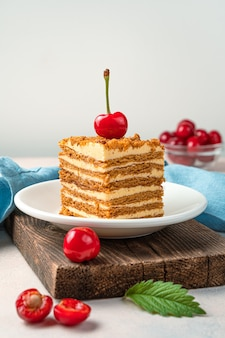 Bolo de mel e cerejas frescas sobre um fundo claro com espaço para copiar. sobremesa caseira. visão vertical.