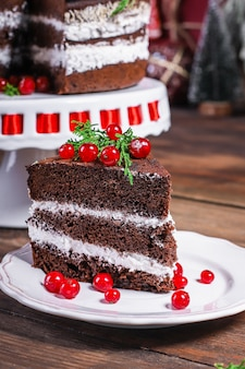 Bolo de natal ano novo sobremesa chocolate cozimento