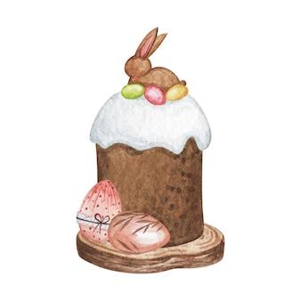 Bolo de páscoa, decoração de páscoa, bolo de aquarela isolado, ilustração de feliz páscoa