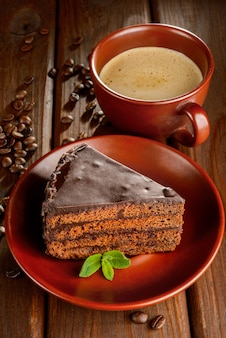 Bolo de sacher de chocolate e café
