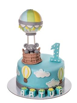 Bolo decorativo para a criança no aniversário para o bebê.
