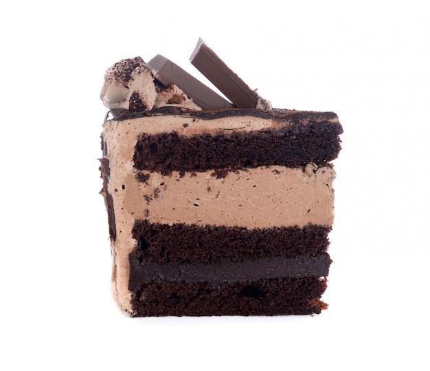 Bolo doce chocolated isolado no branco
