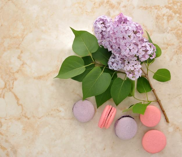 Bolo, macarons e um raminho de flores lilás