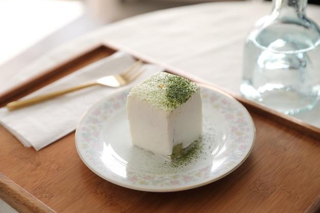 Bolo macha chá verde sobremesa estilo japonês