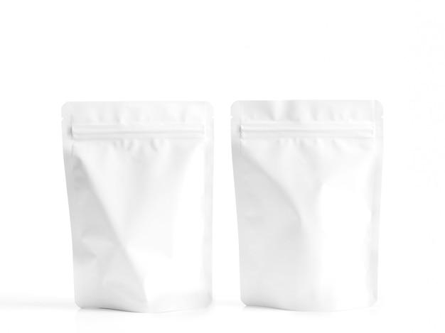 Bolsa com zíper branco para embalagem de lanche de comida.