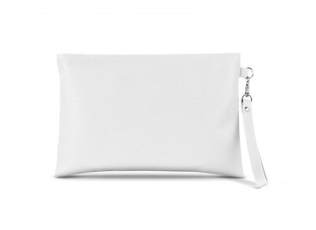 Bolsa de alça de couro branco com suspensão isolada no branco