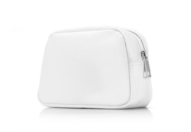 Bolsa de alça premium de couro branco em branco isolada no branco