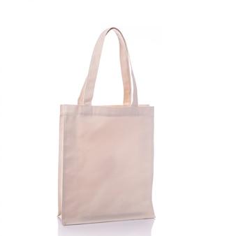 Bolsa de algodão branco.