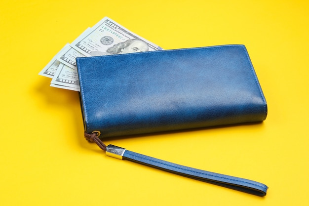 Bolsa de couro e notas de cem dólares em amarelo.